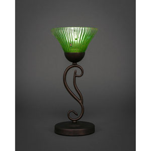 Olde Iron Bronze 7-Inch One Light Mini Table Lamps with Kiwi Green Crystal Glass