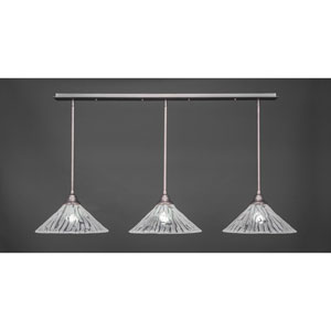 Brushed Nickel Three-Light Pendant with Sixteen-Inch Italian Ice Glass