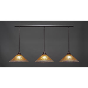 Dark Granite Three-Light Pendant with Sixteen-Inch Amber Crystal Glass