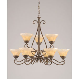 Olde Iron Bronze Nine-Light Chandelier with Amber Crystal Glass
