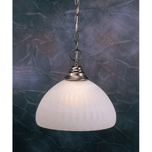 Brushed Nickel One-Light Pendant with White Alabaster Pumpkin Glass