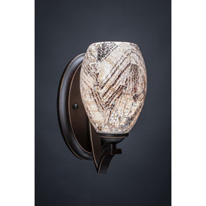 Zilo Dark Granite One-Light Wall Sconce with Natural Fusion Glass