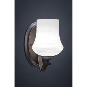 Zilo Dark Granite One-Light Wall Sconce with White Linen Glass