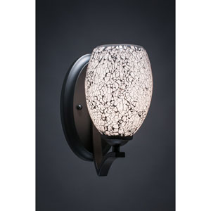 Zilo Matte Black One-Light Wall Sconce with Black Fusion Glass