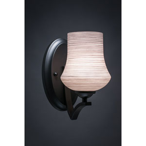 Zilo Matte Black One-Light Wall Sconce with Gray Linen Glass
