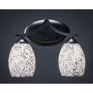 Zilo Matte Black Two-Light Vanity Fixture with Black Fusion Glass