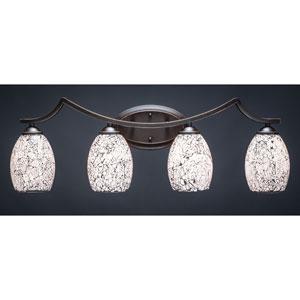 Zilo Dark Granite Four-Light Vanity Fixture with Black Fusion Glass