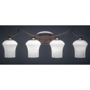 Zilo Dark Granite Four-Light Vanity Fixture with White Linen Glass