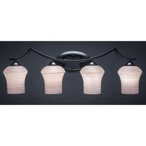 Zilo Matte Black Four-Light Vanity Fixture with Gray Linen Glass