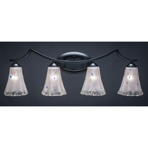 Zilo Matte Black Four-Light Vanity Fixture with Frosted Crystal Glass