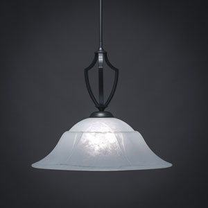 Zilo Matte Black One-Light Pendant with White Marble Glass