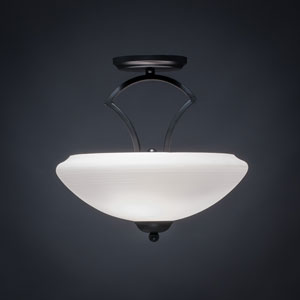 Zilo Matte Black Two-Light Semi-Flushmount with White Linen Glass