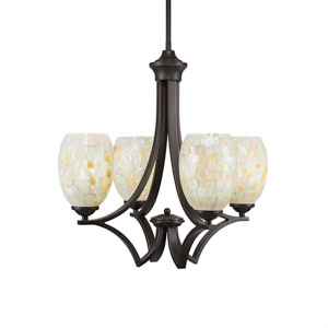 Zilo Dark Granite Four-Light Chandelier with Ivory Glaze Seashell Glass