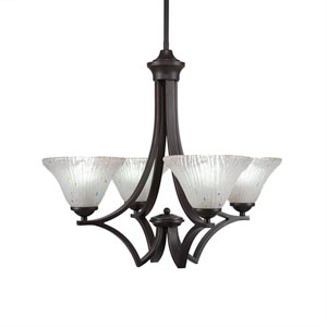 Zilo Dark Granite Four-Light 22-Inch Chandelier with Frosted Crystal Glass