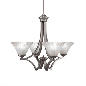 Zilo Graphite Four-Light 22-Inch Chandelier with Frosted Crystal Glass