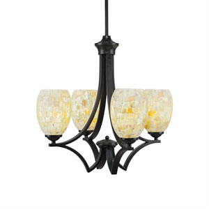 Zilo Matte Black Four-Light Chandelier with Ivory Glaze Seashell Glass