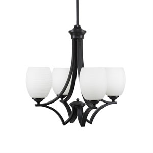 Zilo Matte Black Four-Light Chandelier with White Linen Glass