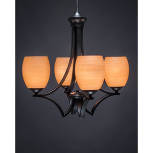 Zilo Matte Black Four-Light Chandelier with Cayenne Linen Glass