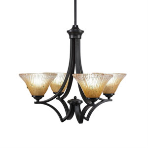 Zilo Matte Black Four-Light 22-Inch Chandelier with Amber Crystal Glass