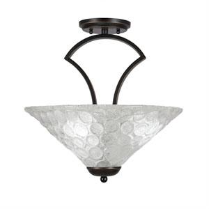 Zilo Dark Granite Three-Light Semi-Flush with 16-Inch Italian Bubble Glass