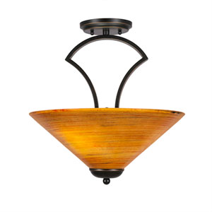 Zilo Dark Granite Three-Light Semi-Flush with 16-Inch Firré Saturn Glass