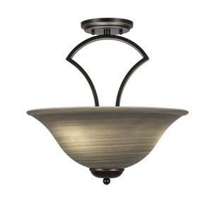 Zilo Dark Granite Three-Light Semi-Flush with 16-Inch Gray Linen Glass