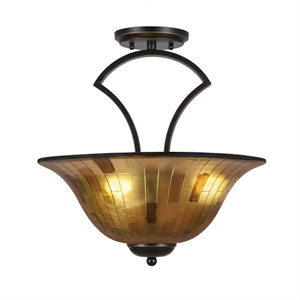 Zilo Dark Granite Three-Light Semi-Flush with 16-Inch Penshell Resin Shade