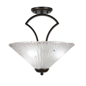 Zilo Dark Granite Three-Light Semi-Flush with 16-Inch Frosted Crystal Glass