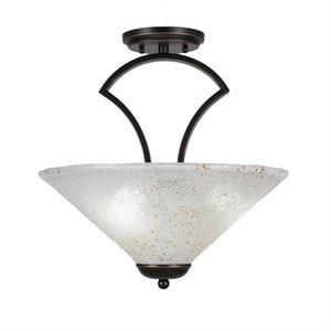 Zilo Dark Granite Three-Light Semi-Flush with 16-Inch Gold Ice Glass