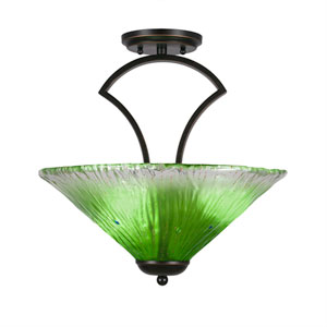 Zilo Dark Granite Three-Light Semi-Flush with 16-Inch Kiwi Green Crystal Glass