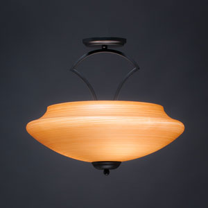 Zilo Matte Black Three-Light Semi-Flushmount with Cayenne Linen Glass