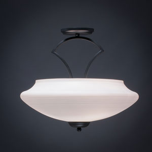 Zilo Matte Black Three-Light Semi-Flushmount with White Linen Glass