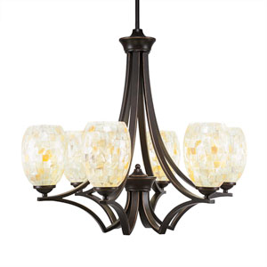 Zilo Dark Granite Six-Light Chandelier with Ivory Glaze Seashell Glass