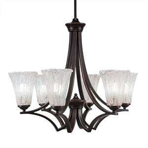 Zilo Dark Granite Six-Light Chandelier with Fluted Italian Ice Crystal Glass