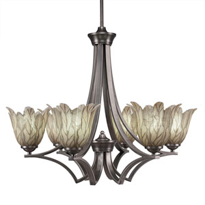 Zilo Graphite Six-Light Chandelier with Vanilla Leaf Glass