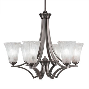 Zilo Graphite Six-Light Chandelier with Fluted Italian Ice Crystal Glass