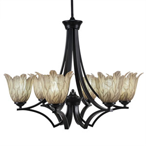 Zilo Matte Black Six-Light Chandelier with Vanilla Leaf Glass