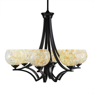 Zilo Matte Black Six-Light Chandelier with Mystic Seashell Glass