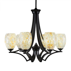 Zilo Matte Black Six-Light Chandelier with Ivory Glaze Seashell Glass