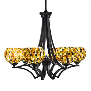 Zilo Matte Black Six-Light Chandelier with Sea Mist Seashell Glass