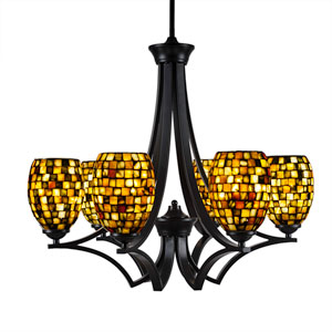 Zilo Matte Black Six-Light Chandelier with Sea Haze Seashell Glass
