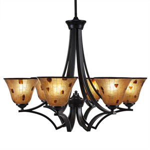 Zilo Matte Black Six-Light Chandelier with Penshell Resin Shade