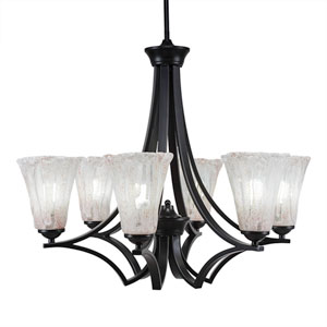 Zilo Matte Black Six-Light Chandelier with Fluted Italian Ice Crystal Glass