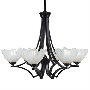 Zilo Matte Black Six-Light Chandelier with Gold Ice Glass