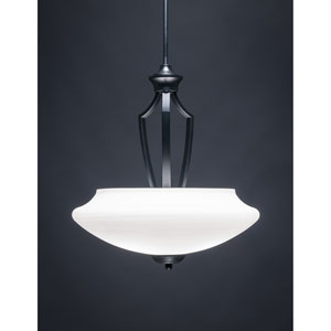 Zilo Matte Black Three-Light Pendant with White Linen Glass