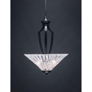 Zilo Matte Black Three-Light Pendant with Italian Ice Glass