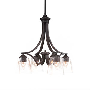 Zilo Dark Granite Four-Light 17-Inch Chandelier with Clear Bubble Glass