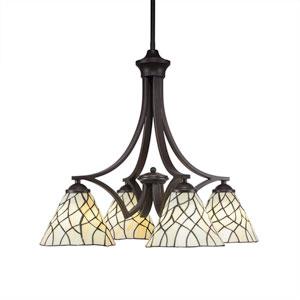 Zilo Dark Granite Four-Light Chandelier with Sandhill Tiffany Glass