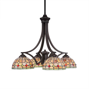 Zilo Dark Granite Four-Light Chandelier with Rosetta Tiffany Glass