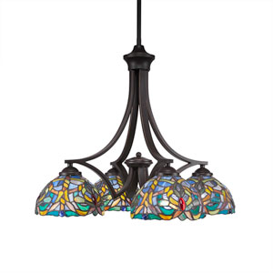 Zilo Dark Granite Four-Light Chandelier with Kaleidoscope Tiffany Glass